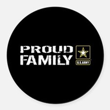 U.S. Army: Proud Family (Black) Round Car Magnet