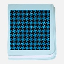 HOUNDSTOOTH1 BLACK MARBLE & BLUE MARB baby blanket