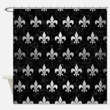 ROYAL1 BLACK MARBLE & SILVER BRUSHE Shower Curtain
