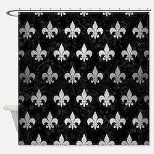 RYL1 BK MARBLE SILVER (R) Shower Curtain