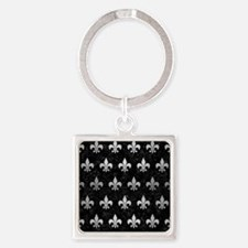 RYL1 BK MARBLE SILVER (R) Square Keychain