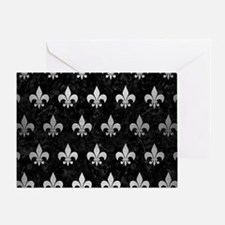 ROYAL1 BLACK MARBLE & SILVER BRUSHED Greeting Card