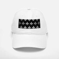 ROYAL1 BLACK MARBLE & SILVER BRUSHED METAL (R) Baseball Baseball Cap