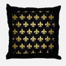 ROYAL1 BLACK MARBLE & GOLD BRUSHED ME Throw Pillow