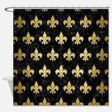 ROYAL1 BLACK MARBLE & GOLD BRUSHED Shower Curtain