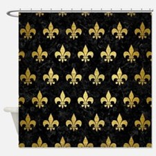 RYL1 BK MARBLE GOLD (R) Shower Curtain