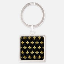 ROYAL1 BLACK MARBLE & GOLD BRUSHED Square Keychain