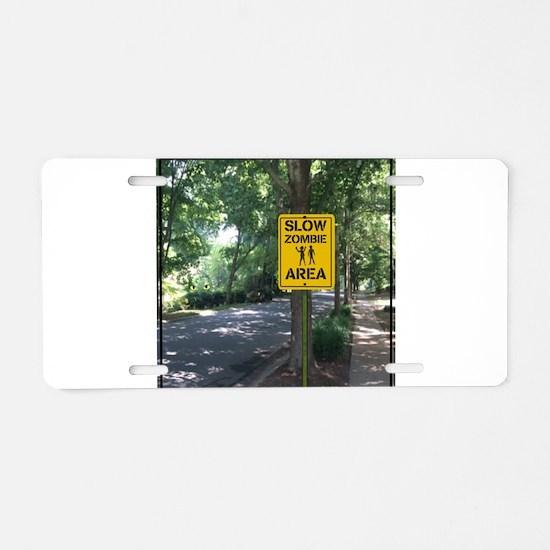 Slow Zombie Area Aluminum License Plate