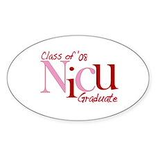 NICU Graduate 08 Girls Oval Decal