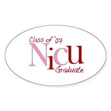 NICU Graduate 07 Girls Oval Decal
