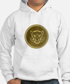 Wild Hog Head Angry Gold Coin Retro Hoodie