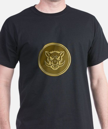 Wild Hog Head Angry Gold Coin Retro T-Shirt