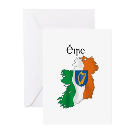Ireland flag map Greeting Cards (Pk of 20)