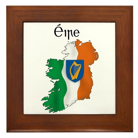 Ireland flag map Framed Tile