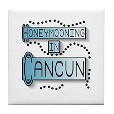 Blue Honeymoon Cancun Tile Coaster