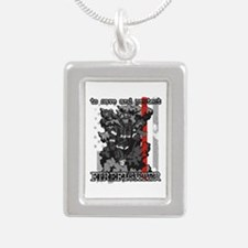 To Save and Protect Fire Silver Portrait Necklace