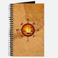 Sailboat And Compass Rose Journal