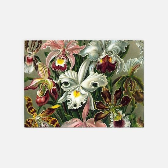 Vintage Orchid Floral 5'x7'Area Rug