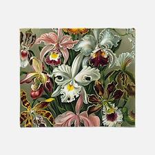 Vintage Orchid Floral Throw Blanket