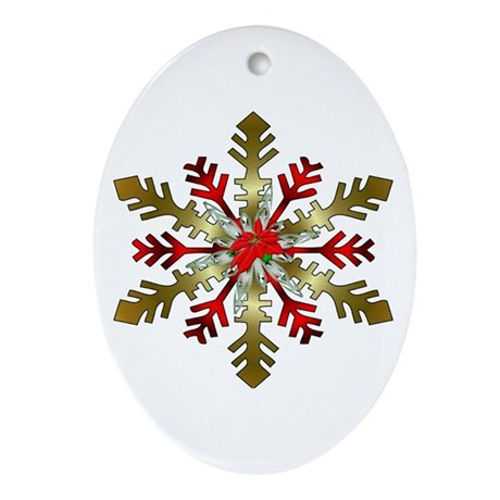 Gold and Red Snowflake Ornament (Oval)