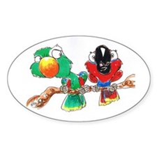 Eclectus BIRD & PARROT Buttons Oval Decal