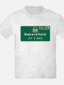 Bakersfield, CA Road Sign, USA T-Shirt