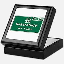 Bakersfield, CA Road Sign, USA Keepsake Box