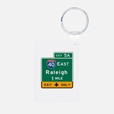Raleigh, NC Road Sign, USA Keychains