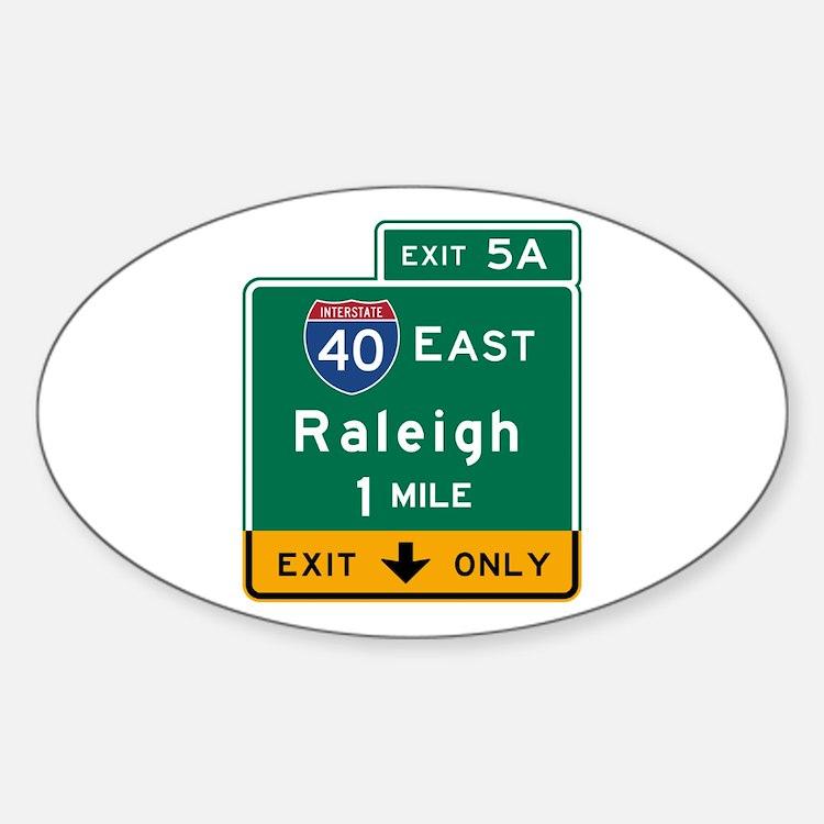 Raleigh, NC Road Sign, USA Decal