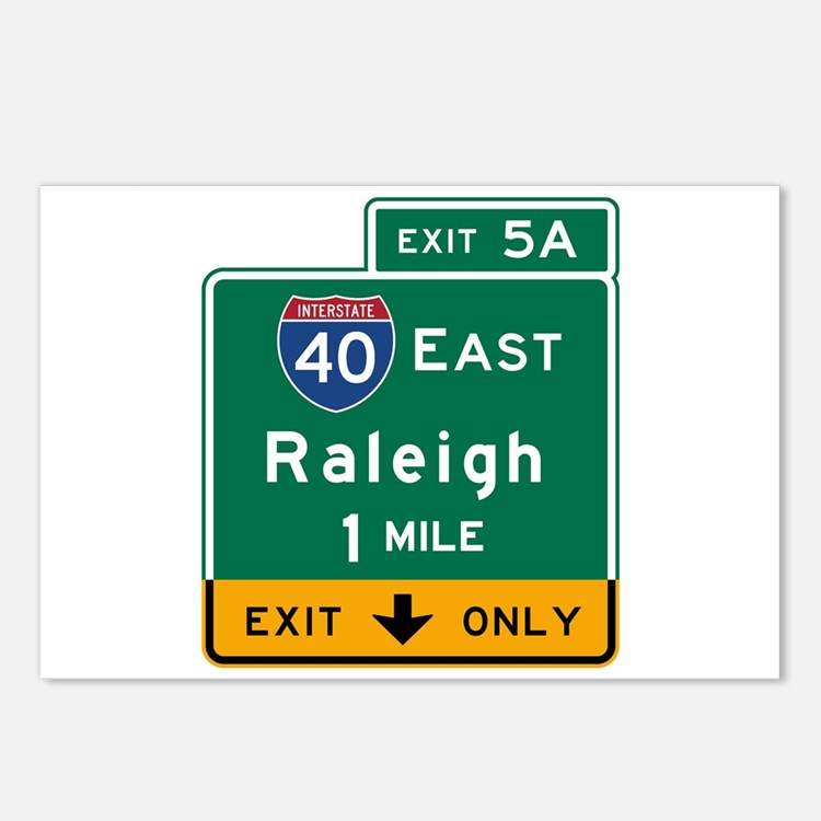 Raleigh, NC Road Sign, US Postcards (Package of 8)