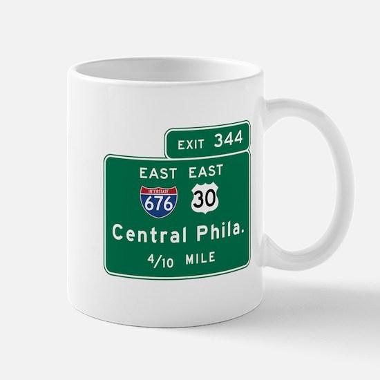 Central Philadelphia, PA Road Sign, USA Mug
