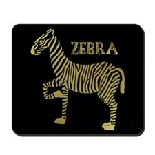 Zebra - Black on Gold bg Mousepad