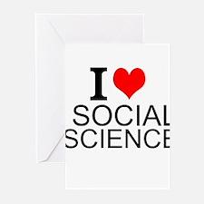 I Love Social Sciences Greeting Cards