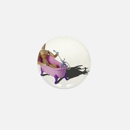 Bathing in Pink Bathtub Mini Button