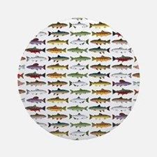 14 Trout and Salmon Pattern cp Round Ornament
