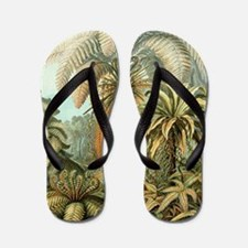 Vintage Tropical Palm Flip Flops