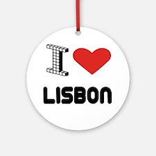 I Love Lisbon City Round Ornament