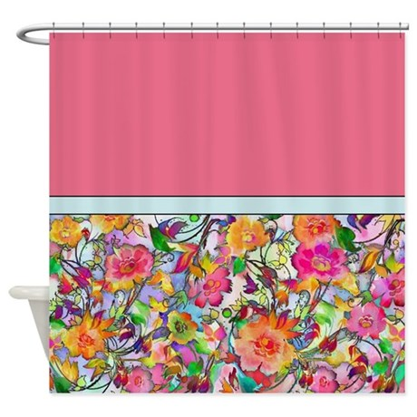 bright floral shower curtain by ibeleiveimages