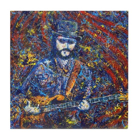 Painting of Les Claypool Tile Coaster