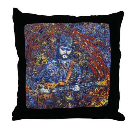 Painting of Les Claypool Throw Pillow