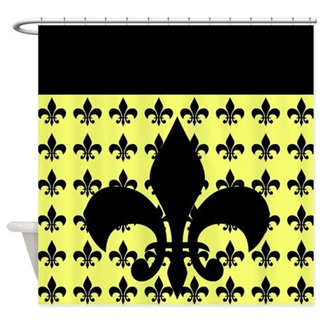 yellow and black fleur de lis shower curtain by ibeleiveimages. Black Bedroom Furniture Sets. Home Design Ideas