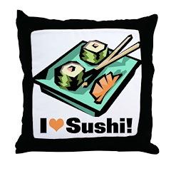 I Love Sushi! Throw Pillow