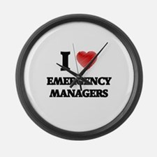 I love Emergency Managers Large Wall Clock