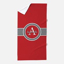 Red Gray Monogram Personalized Beach Towel