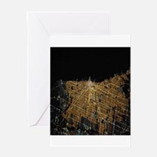 Chicago at Night from Space Greeting Cards