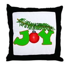Joy Christmas Pine Bough Throw Pillow