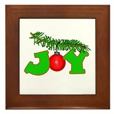 Joy Christmas Pine Bough Framed Tile