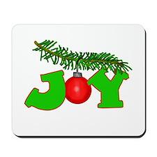 Joy Christmas Pine Bough Mousepad