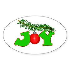 Joy Christmas Pine Bough Oval Decal