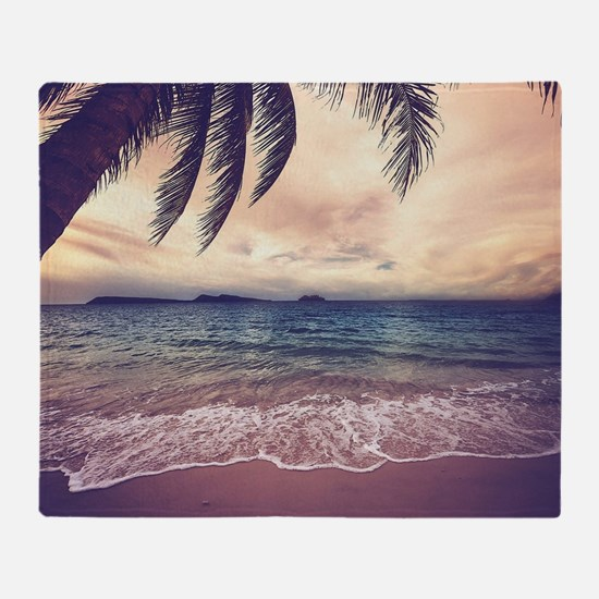 Tropical Beach Throw Blanket